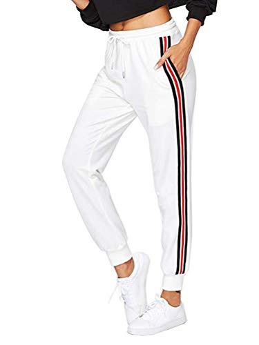 Mujer Pantalon Chandal Largos Pantalones de Deporte Yoga Fitness Jogger Pantalones de Punto de Rayas con Cintura elástica y Bolsillos Sport New B Blanco Small