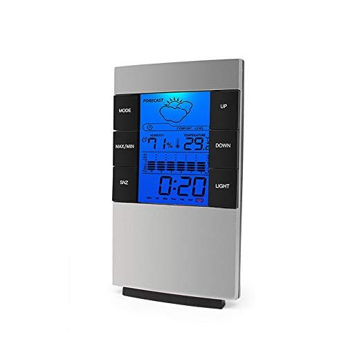LYDUL Digitale Thermostaat, Multifunctionele Home Vochtigheid Thermometer, LCD Digitale Hygrometer Temperatuur Meter Klok Meetapparaat, 0-50C/20% -99% RH