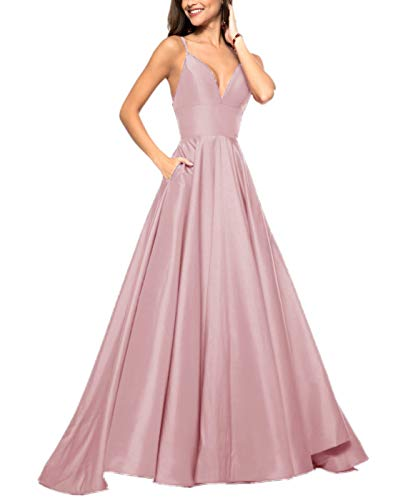 APXPF Women's V Neck Spaghetti Straps Prom Dresses A-line Long Satin Formal Party Gowns with Pockets Light Pink US14