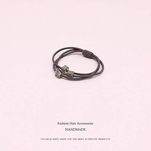 SAGIUSDM 4 pcs Cristal Carré Chapeaux Élastiques Bandes De Cheveux Rose Bleu Gris Noir Bande Élastique Géométrique pour Les Femmes Accessoires De Cheveux en Caoutchouc, Gris, Taille Unique