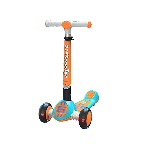 PTHZ Scooter Infantil de 3 Ruedas, Scooter Plegable con Ruedas de Flashing PU, dirección de inclinación y 3 manillares Ajustables en Altura, niños Mayores de 3 años,Naranja