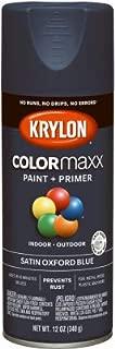 Krylon K05571007 COLORmaxx Spray Paint + Primer, Satin Oxford Blue, 12-oz. - Quantity 6