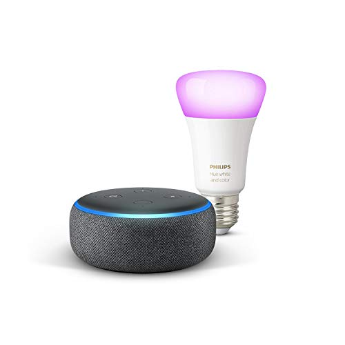 Echo Dot (3e génération), Tissu anthracite + Philips Hue White & Color ampoule LED connectée...