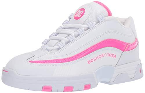 DC Women's Legacy LITE Skate Shoe, White/Hot Pink, 8.5 B M US