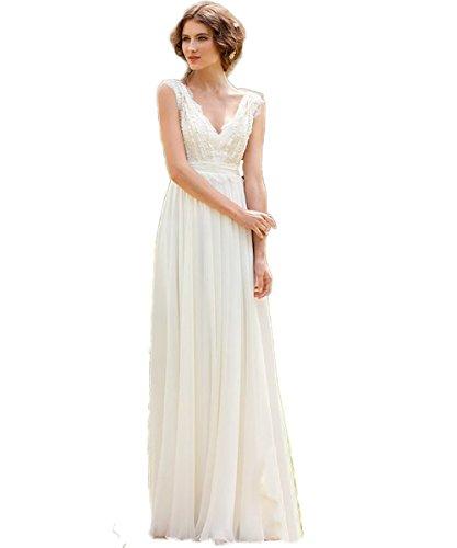 CoCogirls Braut Chiffon V-Ausschnitt Cap Sleeve Kleid Bohemien Strand Hochzeitskleider Brautkleider Abendkleid (38, Elfenbein)