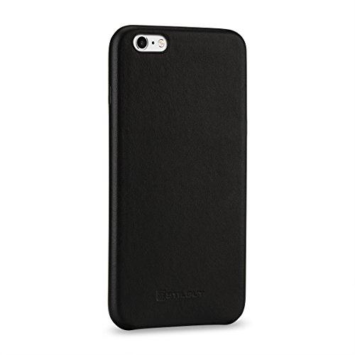 StilGut Premium Cover, Hülle aus echtem Nappaleder für iPhone 6 Plus & 6s Plus, Schwarz Nappa