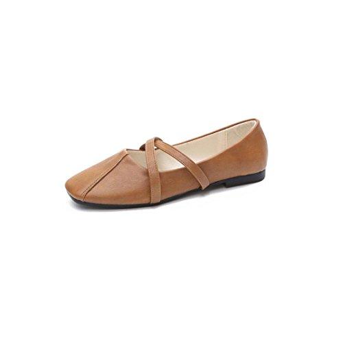 Ansenesna Sandalen Damen Sommer Leder Flach,Geschlossen Vintage Stoff Flip Flop Sommerschuhe Für Outdoor (38, Braun)