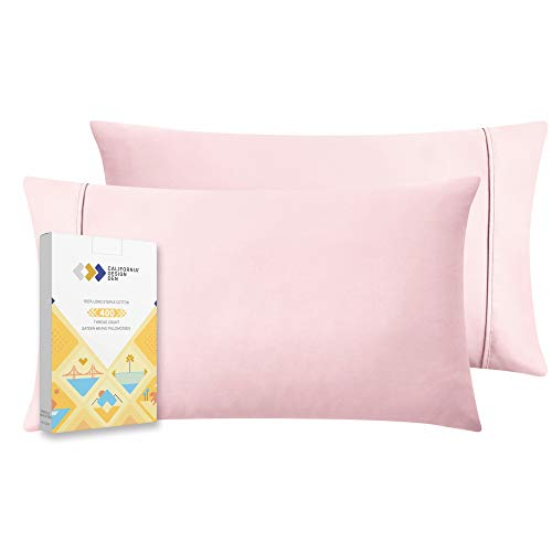 400 Thread Count 100% Cotton Pillow Cases, Blush Pink King Pillowcase Set of 2, Long - Staple Combed Pure Natural Cotton Pillows for Sleeping, Soft & Silky Sateen Weave Best Pillow Covers