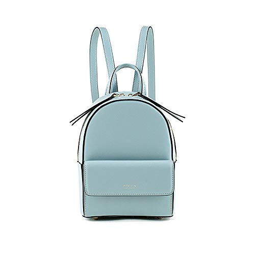 ASD Fashion Lady Backpack Mini Multifunction Simple Waterproof Leather Light Small Bag Youth High Capacity Handbag College Style Packet Trend Elegant Women's School Bag Light Blue Street