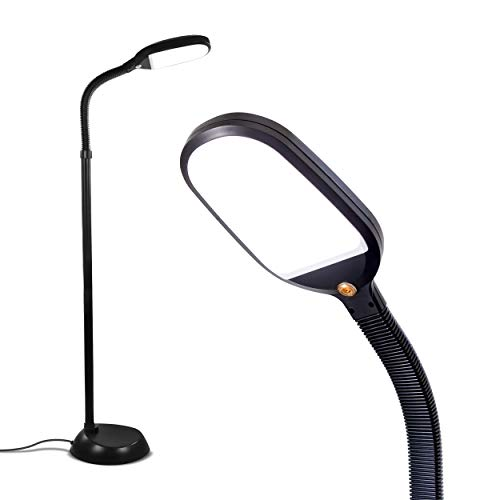 Brightech Litespan - Bright LED Floor Lamp for Crafts & Reading - Estheticians' Light for Lash Extensions - Natural Daylight Lighting for Office Tasks - Adjustable Gooseneck Pole Lamp - Black
