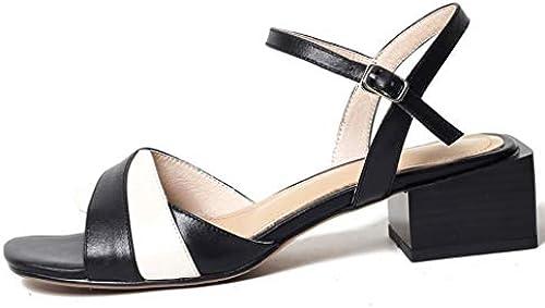 Sandals Damen, Lederschuhe Schnallen Sommer koreanische Mode offene Zehe Zehe Zehe Dicke Ferse Schuhe Sehne Sohlen (Farbe   Schwarz Größe   36)  Shop macht Kauf und Verkauf