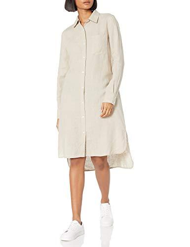The Drop Women's Damen Langarm Loose Fit Midi Shirt Kleid