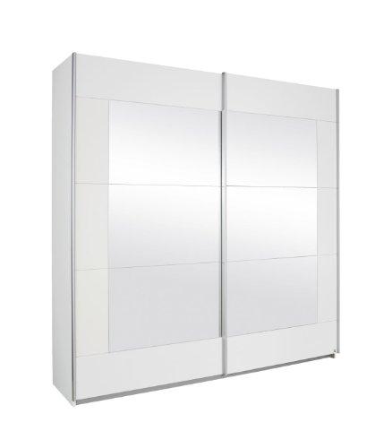 Rauch Möbel Alegro Schrank Schwebetürenschrank Kleiderschrank in Weiß mit Spiegel 2-türig, inklusive Zubehörpaket Basic 3 Kleiderstangen, 3 Einlegeböden BxHxT 271x210x62 cm