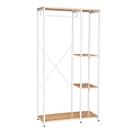 armadio guardaroba legno WOLTU SR0047whe Stand Appendiabiti con Ripiani Attaccapanni Guardaroba Scaffale Porta Abiti in Legno Acciaio