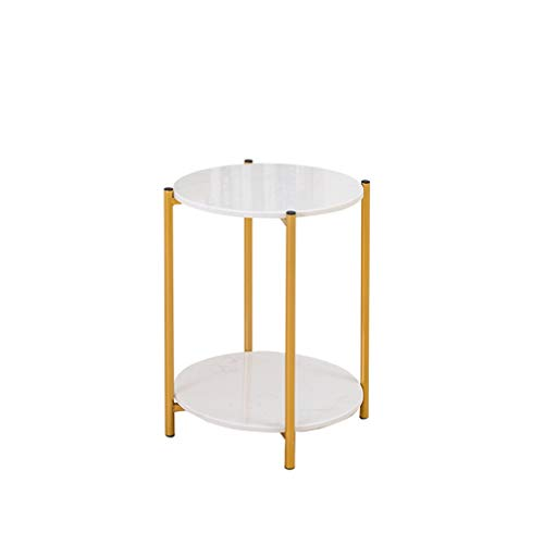 Exhibition Hall onderhandelingstafel-CDingQ Decoratieve Flower Stand, Double Layer Golden Beugel Small Round Table flatje Receptiezaal Sales Department End Table Boeken Storage Table