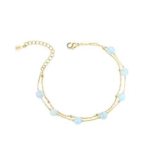 Bracelet Femme En Aigue-marine Naturelle,14K Plaqué Or 6Mm Aigue-marine Fait Main Réglable Bracelet En Or Double Chaîne pour Femme,Bracelet Rond En Or Cristal Cadeaux D'Anniversaire pour Les Femmes