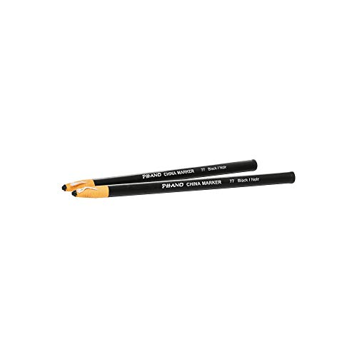 DIXON Industrial Phano Peel-Off China Markers Pencils, Black, 2-Pack (30771)
