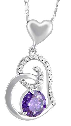 Veuer Joya para mujer de plata con piedras de estrás, collar rodiado lila corazón mujer amor
