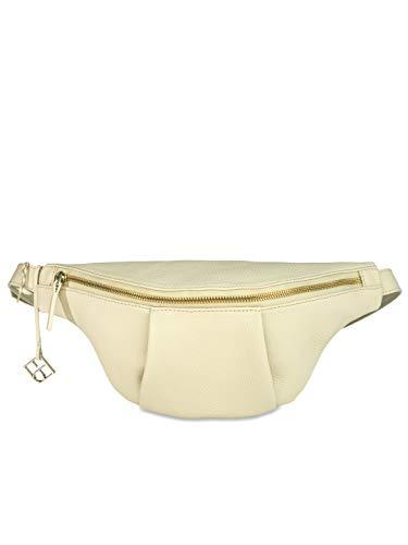 YOUBAG Leo Body Bag Gurtlänge M - handgefertigte Designer Umhängetasche aus italienischem Leder, Unisex - edle Echtledertextur in Elfenbein