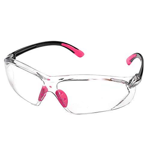 Safeyear mujer Gafas de seguridad antirrayas, EN166, Certificación SG003, Antivaho, Protección UV, para mujeres, Antivaho, Z87, (Normal, Rosa)