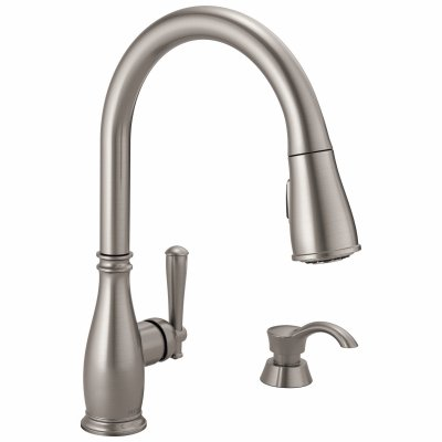 DELTA 19962Z-SSSD-DST Charmaine High Arc Pull Down Kitchen Faucet with Soap Dispenser, Single Handle, Stainless - Quantity 3