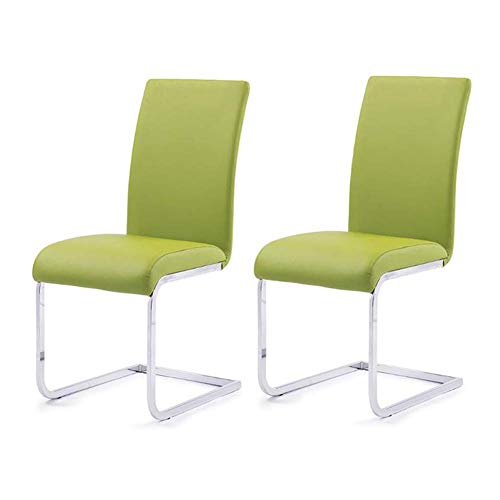 LLSS Sillas reclinables Juego de 2 sillas de Comedor de Piel sintética, Patas cromadas, Muebles de Comedor de Cocina con Respaldo Alto, 3 Colores