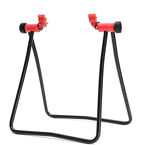 ASVK Supporto per bicicletta da interni e ciclismo, pieghevole, con inserto triangolare, verticale a forma di U, per riparazione meccanica, con altezza regolabile per la maggior parte delle biciclette