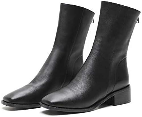HOESCZS Bottes Martin bottes Autumn and Winter New Zipper Wohommes chaussures bottes Martin bottes College Leather Wohommes bottes
