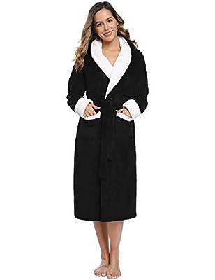 Aibrou Women's Plush Hooded Bathrobe Soft Warm Fleece Fun Robe Sleepwear w/Pockets