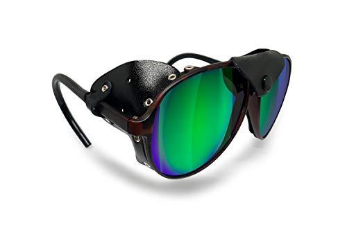 BERTONI Gafas Polarizadas Montaña Glaciar Esqui Alpinismo Trekking Climbing - Mod. Alps Italy (Camo Marrón - Espejo Verde Polarizado)