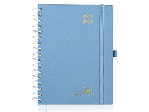 Agenda 2021 2022 Semana Vista Aprox. A5 - Agenda Escolar 2020-2021 Espiral(agosto 2021 - agosto 2022) con Páginas de Notas y Dirección, 16,5 x 22 cm, Azul Neblina