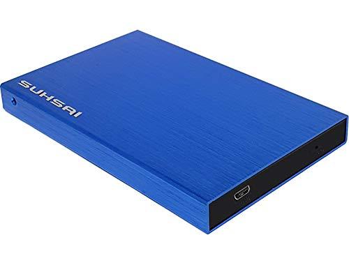 Suhsai Disco duro externo portátil para almacenar datos de copia de seguridad, películas, música, disco duro externo 2.0, compatible con SmartTV, Mac, portátil, tablet y PC (160 GB, azul)