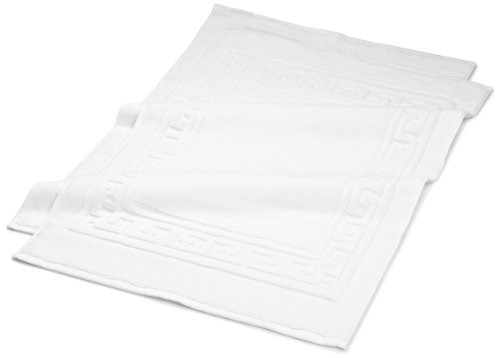 Superior Hotel & Spa Quality Bath Mat Set of 2, Made of 100% Premium Long-Staple Combed Cotton, Durable and Washable Bathroom Mat 2-Pack - White, 22' x 35' each