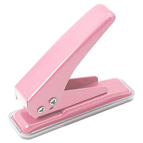 Single Handheld 1/4 Inches Hole Puncher, 20 Sheet Punch Capacity Metal Hole Punch with Skid-Resistant Base for Paper, Chipboard, Art Project, Pink