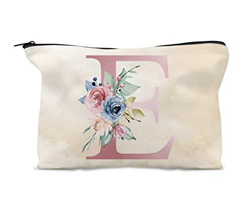 Trousse de maquillage personnalisable - Aquarelle - Motif floral - Rose et bleu - Cadeau d'anniversaire pour fille, nièce, amie ou demoiselle d'honneur