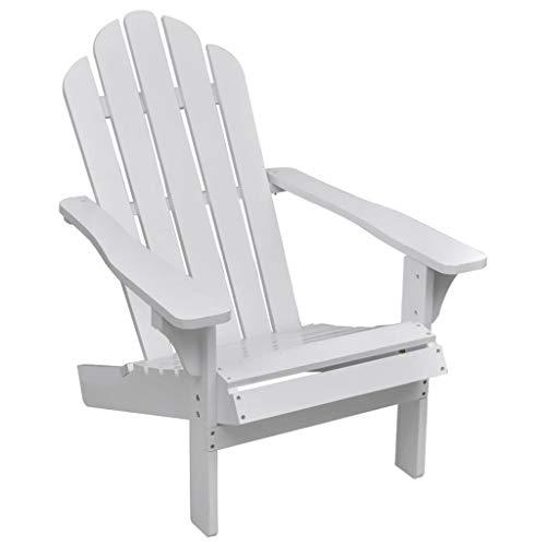 vidaXL Chaise de Jardin Siège de Balcon Bois Blanc Terrasse Patio Extérieur