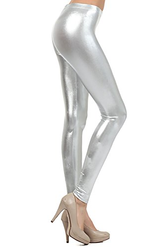 Crazy Girls Verrückte Mädchen Frauen Damen Metallic Glänzend Glanz Squad Kostüm Wet Look Leggings (XXL-EU48/50, Silber)