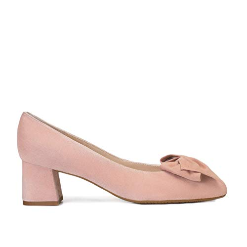 Kiara - Salones Elegantes de Vestir para Mujer en Piel con LazoPunta Fina - Hechos en España - Tacon Bajo Ancho 5 cm - Moda Zapatos Tacones Casual - Piel