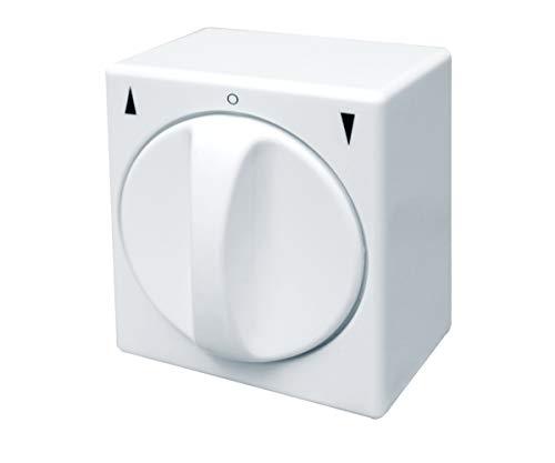 Schellenberg 23003 Tast-Rast-Knebelschalter Aufputz, Rolladenschalter umschaltbar von Schalter- zur Tastfunktion, einfach Nachrüsten, 5 Anschlusspole, Weiß