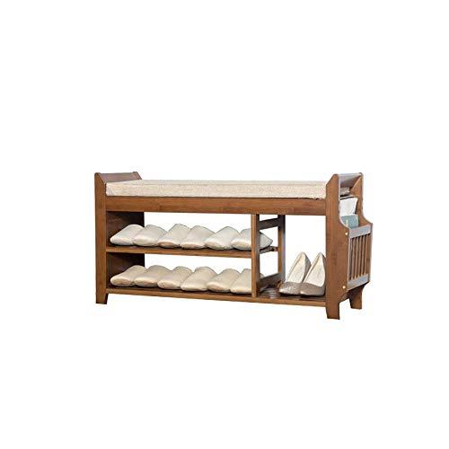 Zapateros, organizador de zapatos de madera vintage marrón premium de 3 niveles, banco de soporte de almacenamiento con cojín de asiento suave para estantes de zapatos de entrada (tamaño: 98.5 * 29.5