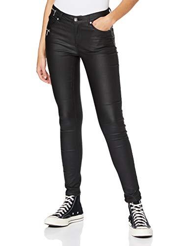Only ONLCARMEN REG Zip Coated Jeans, Black, 32 X-Large Femme