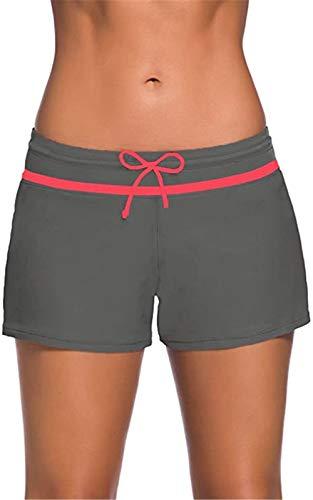 Acfoda Sommer Badehose Damen Badeshorts Bikinihose Kurze Schwimmhose Schwimmshorts mit UV Schutz Wassersport Schwimm Shorts Schnell Trocknendes Bikini Hose Grau 38-40