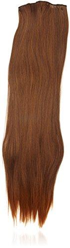 BiYa Hair Elements Thermatt haarverlenging met haarklem voor onmiddellijke bevestiging, glad, Dipdye Brown nr. 2T30 24/140 g