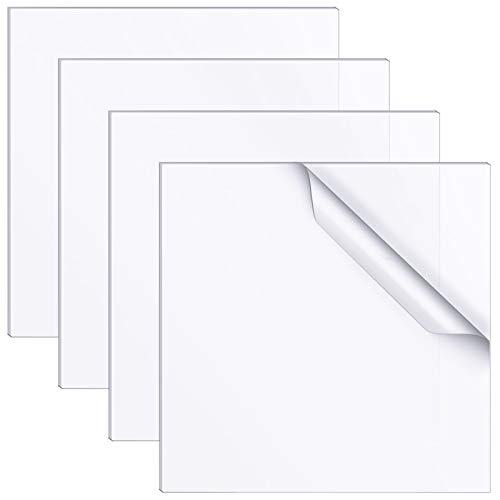 4 Pièces Feuilles Acryliques Transparentes 3 x 3 Pouces Panneaux en Plastique Acrylique Carrés Transparents 2mm Signe de Feuilles dAffichage en Plastique Épais pour Image Cadre Verre Table