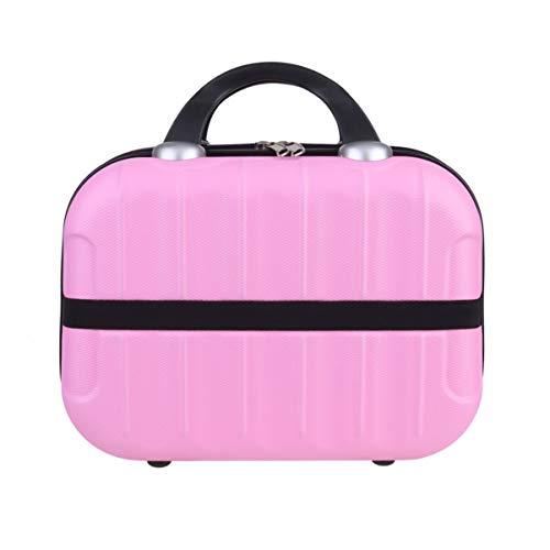 Minkissy maquillage trousse de toilette poignée trousse de maquillage voyage organisateur de sacs pour fille maquillage outils accessoires de toilette bijoux (rose)