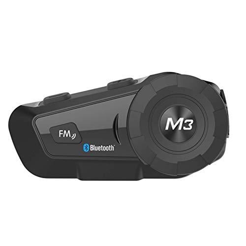 Gymqian Casco de Motocicleta Auriculares Bluetooth Intercom Auriculares Estéreo Multifuncional con Cancelación de Ruido Fm Calidad de sonido HD/Negro