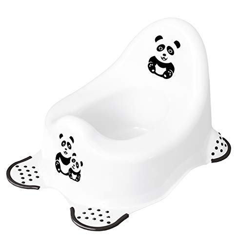keeeper Panda Babytopf, Ab ca. 18 Monate bis ca. 3 Jahre, Anti-Rutsch-Funktion, Adam, Weiß