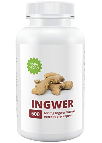 INGWER - 100% Vegan | Hochdosiert 600mg | 90 Kapseln | Made in Germany