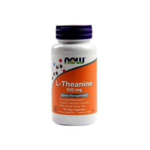 NOW Supplements, L-Theanine 100 mg with Decaf Green Tea, Stress Management*, 90 Veg Capsules