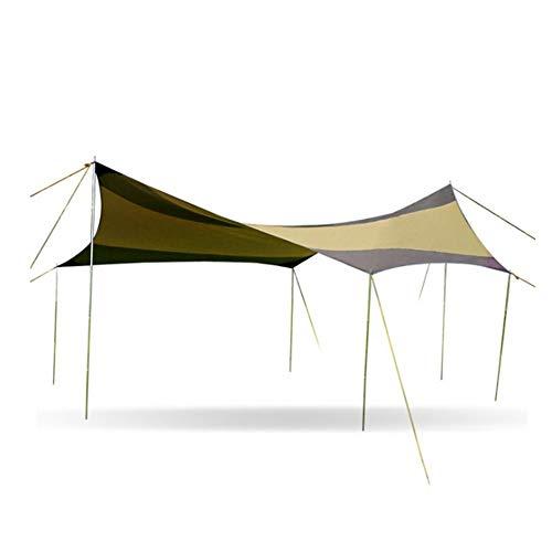 Carpa 16.4 * 16.4 Pies Impermeabilizando Lona para acampar Refugio Protección UV Hamaca Lluvia Tienda con estacas Postes Cuerdas Equipo de supervivencia para pescar en la playa Carpa para camping